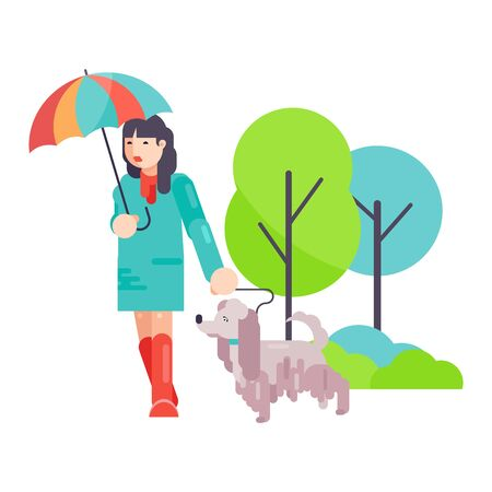 Woman girl play with best friend pet character dog or puppy illustration. Family playing with doggie animal on white background. Dog-breeding people walking together in park outdoor, happy time