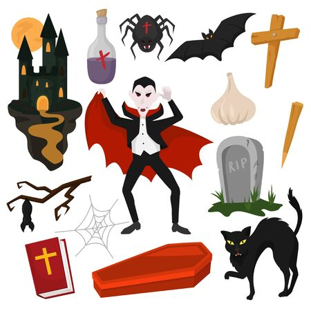 Vampire vector cartoon dracula character in scary halloween costume and vampirism signs illustration set of spooky evil monster in graveyard or castle with bat isolated on white background