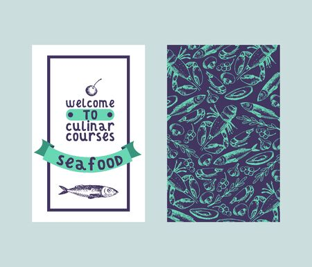 Culinar courses seafood seamless pattern and sketch vector illustration for restaurant menu. Fresh fish, lobster, and crab, oyster with mussel sketches. Vintage sea food background.  イラスト・ベクター素材