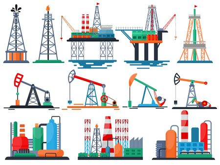 Oil industry vector oily products oiled technology producing drilling fuel pump illustration set of industrial equipment crane isolated on white background Illustration