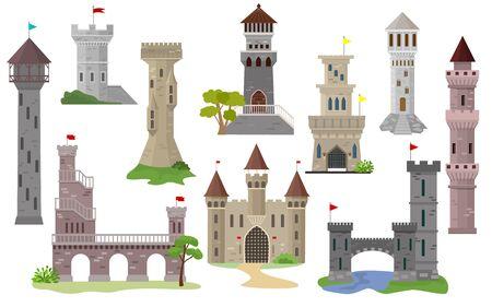 Cartone animato castello vettoriale favola torre medievale del palazzo di fantasia edificio nel regno delle fate insieme illustrazione della storica casa da favola isolato su sfondo bianco Vettoriali