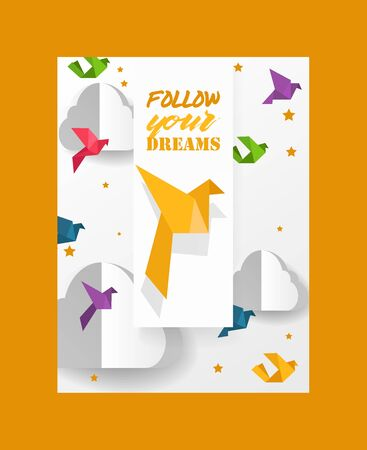 Origami cut dove paper birds and clouds vector illustration. Paper origami crafted world. Cutout made template with colorful symbol of peace. Landscape for banner, card, poster. Standard-Bild - 126893093