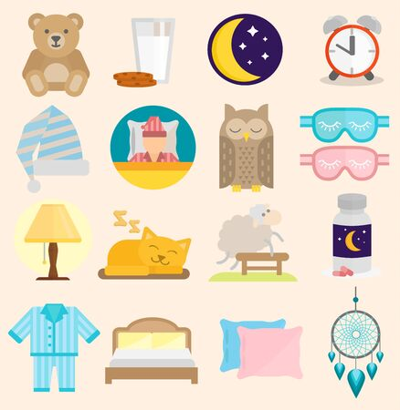 Sleep time icons flat set with window milk isolated illustration sleep icons moon set pillow clock dream healthy lifestyle. Bedroom sleeptime rest star human collection sleep icons
