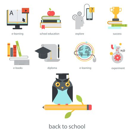 Distant learning flat design online education video tutorials staff training store learning research knowledge illustration. Stock Photo