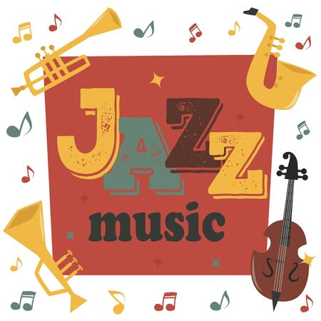 Jazz musical instruments tools background jazzband piano saxophone music sound illustration rock concert note.