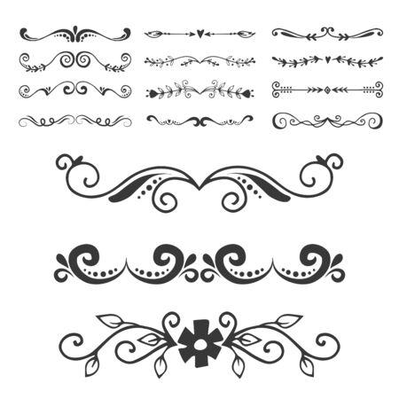 Separador de texto divisor de decoratice tipografía de libro elementos de diseño de adorno ilustración de formas divisorias de la vendimia