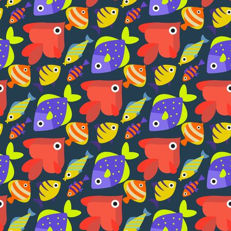 Aquarium ocean fish underwater bowl tropical aquatic animals water nature pet characters seamless pattern background illustration Stock Illustration - 126893180