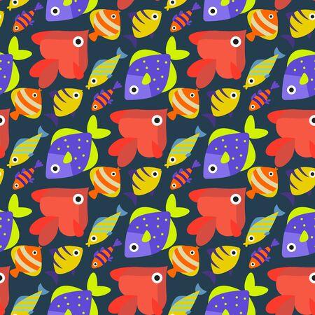 Aquarium ocean fish underwater bowl tropical aquatic animals water nature pet characters seamless pattern background illustration