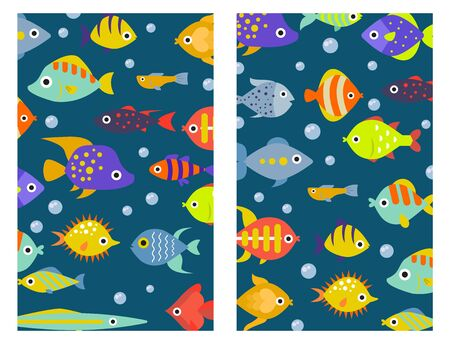 Aquarium ocean fish underwater cards bowl tropical aquatic animals water nature pet characters illustration