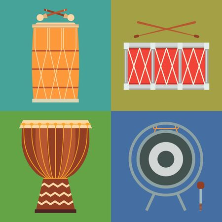 Musical drum wood rhythm music instrument series percussion musician performance illustration Stock Photo
