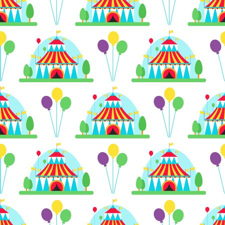 Circus show entertainment tent marquee outdoor festival with stripes flags carnival seamless pattern background illustration.