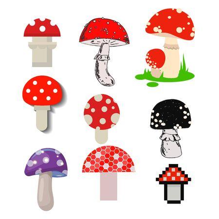 amanita mushrooms dangerous set poisonous season toxic fungus food illustration. Stock Photo