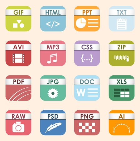 square file types and formats labels icon set. File type format icons presentation document symbol. Audio extension icons graphic multimedia sign application software folder.
