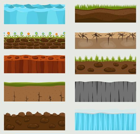 Illustration of cross section ground slice isolated on white background. Some ground-slices piece nature cross outdoor. Ecology underground groundslice