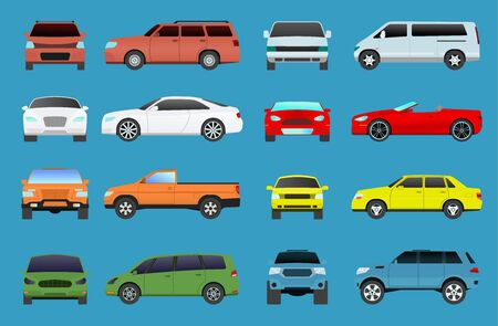 Car type model vehicle objects icons set multi color automobile super car. Wheel symbol car types coupe hatchback. Traffic collection showroom camper car types minivan flat automotive 写真素材