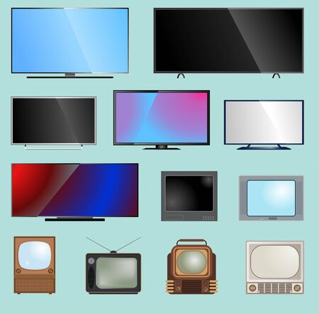 TV screen lcd monitor template illustration. Electronic device tv-screen infographic. Technology digital device television and computers LED screen, size diagonal display screen monitor