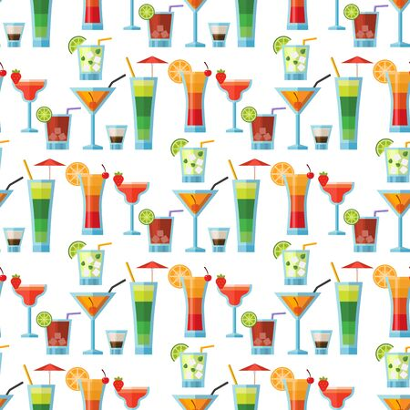 Alcoholic cocktails seamless pattern background fruit cold drinks tropical cosmopolitan freshness party alcohol sweet tequila illustration. Фото со стока