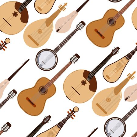Stringed dreamed musical instruments classical orchestra art sound tool acoustic symphony seamless pattern background wooden equipment illustration