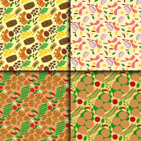 Traditional thai food asian cuisine thailand seafood prawn seamless pattern background cooking delicious illustration.
