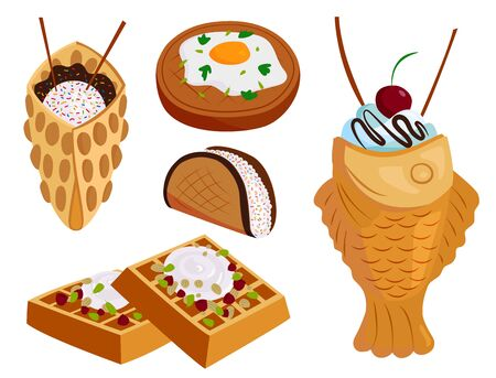 Different wafer cookies waffle cakes pastry cookie biscuit delicious snack cream dessert crispy bakery food illustration