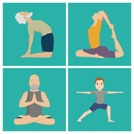 Yoga positions characters class meditation people concentration human peace lifestyle illustration. Stock fotó