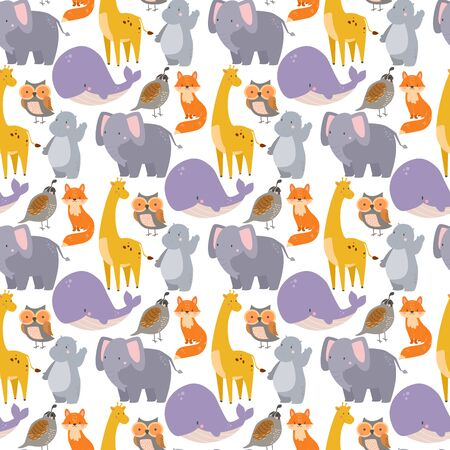 whale zoo animals illustration seamless pattern humpback ocean marine mammal wildlife character.