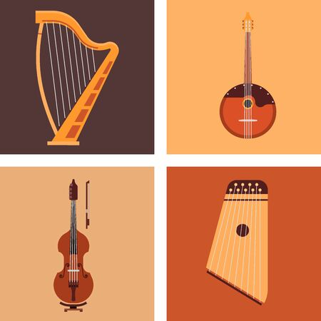 Set of stringed musical instruments classical orchestra art sound tool and acoustic symphony stringed fiddle wooden equipment illustration