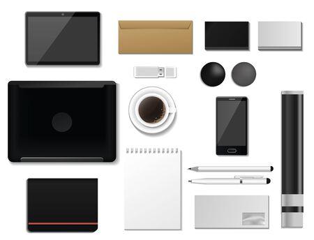 Corporate identity mock-up premium template set business office stationery realistic 3d mockup top view branding illustration. Zdjęcie Seryjne