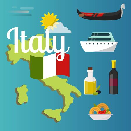 Italy travel map attraction tourist symbols sightseeing world italian architecture elements illustration. Фото со стока