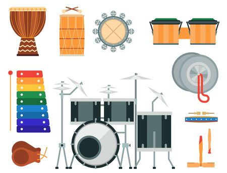 Musical drum wood rhythm music instrument series set of percussion illustration. Drummer musician cultural handmade orchestra art performance indigenous tribal sign. Stock Photo
