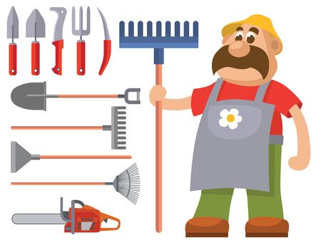 Garden equipment flat set gardener character with rake illustration agriculture farming tools