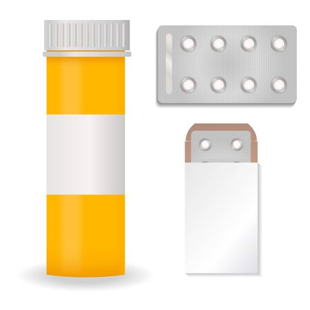 Bottle pack template mockup blank pharmaceutical blister of pills and capsules tube container for drugs clean plastic packaging for medication illustration.