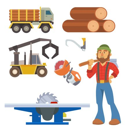 Sawmill woodcutter character logging equipment lumber machine industrial wood timber forest illustration.