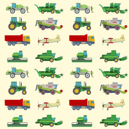 Agriculture harvest machine industrial farm equipment tractors transport combines and machinery excavator seamless pattern background illustration.