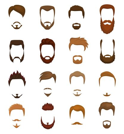 Beards portraite of bearded man with male haircut in barbershop and barbed mustache on hipsters face illustration set of barber hairstyle isolated on white background.