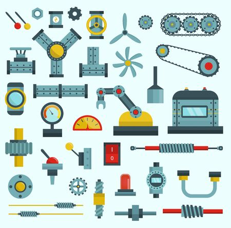 Machine parts illustration machinery flat icons set manufacturing work detail design gear mechanical equipment part industry technical engine