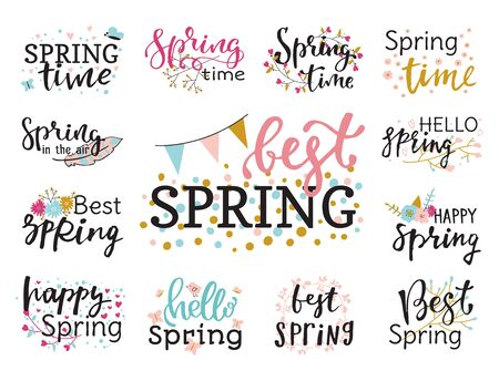 Hello spring time lettering text greeting card special springtime typography hand drawn Spring graphic illustration badge Stock Photo
