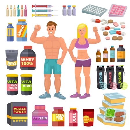Bodybuilding sport food bodybuilders supplement proteine power and fitness diet nutrition for bodybuild workout illustration set of energy shakers for muscle growth isolated on white background Stock Photo