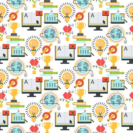 Distant learning seamless pattern background online education video tutorials staff training store learning research knowledge illustration. Stock Photo