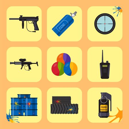 Paintball club icons protection uniform and sport game design elements equipment target illustration Stockfoto
