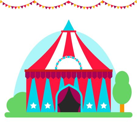 Circus show entertainment tent marquee outdoor festival with stripes flags carnival illustration.