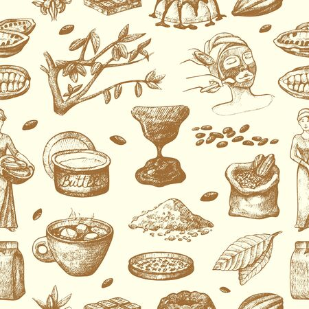 cocoa products hand drawn sketch. Doodle food chocolate sweet cacao illustration. Vintage style plant natural bean ingredient. Organic cacao seamless pattern background