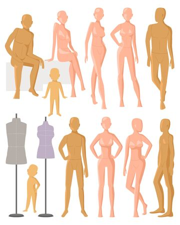 Mannequin dummy model for fashion dress and plastic figure of doll illustration set of female male and kids manikins isolated on white background