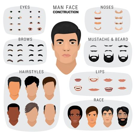 Man face constructor male character avatar creation head skin nose eyes with mustache and beard illustration set of facial elements construction with hairstyle isolated on white background