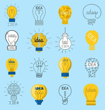 Süße Geschäftsidee Glühbirne Konzept kreative Icons Design. Glühbirnen Idee Lampe Innovation elektrische Kreativität Inspiration Konzept. Helles Symbol Symbol Lösung Glühbirne. Kreatives Konzept