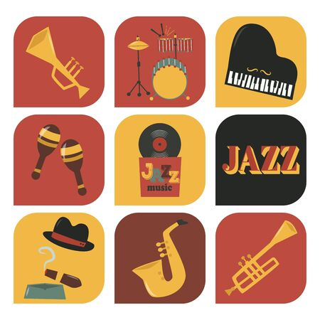 Jazz musical instruments tools icons jazzband piano saxophone music sound illustration rock concert note.