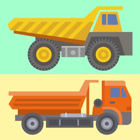 Construction delivery truck transportation vehicle construct and road trucking machine equipment large platform industrial truck illustration.
