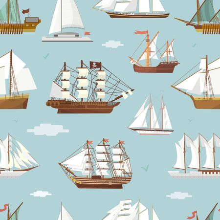 ship boat miniature vessel old vintage sailboat souvenir sea shipping travel white canvase seamless pattern background. Adventure sailboats 写真素材