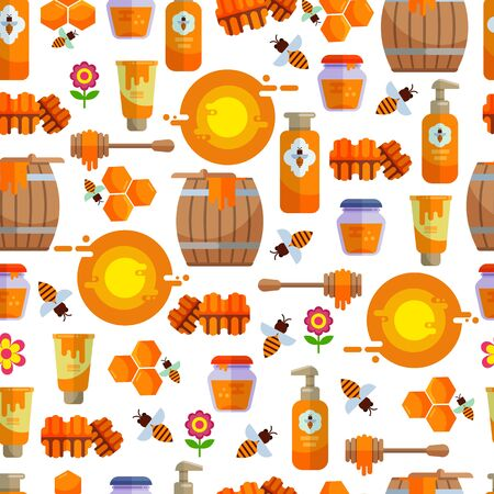 Apiary beekeeper honey making farm symbols icons illustration. Bee, honey, beehouse, honeycomb natural healthy food production seamless pattern background. Imagens