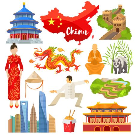China chinese culture in Asia and Great Wall of China illustration set of asian symbols panda dragon traditional dress and flag on white background
